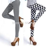 New 2014 fashion harajuku style cheap sexy swallow gird print high elastic soft&comfortable leggings for girls