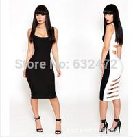 New2014women fashion hollow halter bandage stitching nightclub dresses evening party dresses hot&sexy plus size club dresses