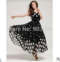 2014fashion elegant brief black and white polka dot sleeveless plus size tank beach full dresses  free shipping best selling