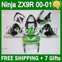7gifts+Body For KAWASAKI NINJA ZX9R 00-01 00 01 ZX-9R green black ZX 9R 9 R F1740 ZX9 R 00 01 Light green 2000 2001 Fairing