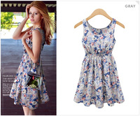 Free Shipping top sale 2014 summer new fashion women's sleeveless flower printed vest dress
