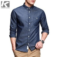 2014 Men Brand Fashion Stylish Spring Long Jean Shirt, Casual Slim-fit Men Cotton Shirt, High Quality Jean Shirt