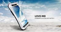 Good design LOVE MEI for Samsung Note II N7100 note2 Waterproof Shockproof Dirtproof Aluminum case Metal cover + Gorilla Glass