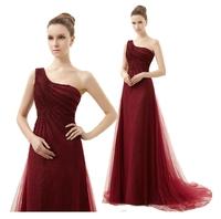 2014 Fashion red one shoulder dress evening dresses long design evening dress vestido de festa longo