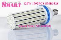 4PCS+Free Shipping Super Bright  SMD3528 120W E40 LED Garden Lighting Warehouse Corn Bulb LED Street Light  AC90-260V