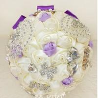 EMS Free shipping Luxury Bridal Bouquet Pearl Diamond Wedding Bouquet Silk Rose Wedding Flower Wedding Accessory