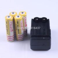 freeship 4PCS  ultrafire 18650 5000mAh battery 3.7V Rechargeable 18650 Battery + 1pcs travel wall charger US EU UK AU plug