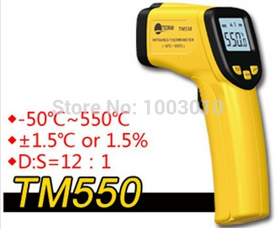 Wholesale Retail Industrial TM550 Digital Non-Contact Infrared IR Thermometer With Laser Point Gun -50~ 550 Temperature Meter(China (Mainland))