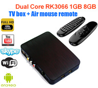 Cheapest Rk3066 Dual Core Android 4.2 1g 8g Hdmi Wifi Rca 4xusb Internet Smart Google Tv Box with Mini Airmouse Keyboard Remote