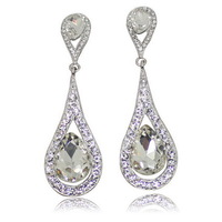 The Latest Product Sell Like Hot Cakes Teardrop-Shaped White Alloy Earrings Stud Earrings Rhinestone Design For Women