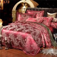 4pcs King Queen size Silk bedding set satin silk  jacquard quilt cover bed sheet pillow cover bedclothes roupa de cama casal2623