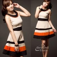 New 2014 Women Summer Dress Vintage Noble Elegant  Stripe Splicing Dress Free Shipping