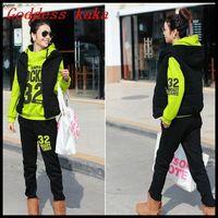 2014 Winter Thicken Sweatshirt Three Piece Sports Suits Women Letter Clothing Set Hoodies+Pants+Vests Active Overcoat S056
