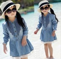 Retail 2014 new spring children's clothing girls casual princess dresses kids cotton thin denim long sleeve dress