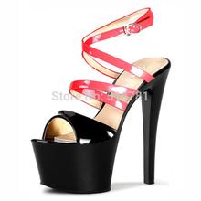 Free Shipping Sexy 17cm High Heel Sandals Gorgeous Neon Heels 7 Inch Stiletto With Platform Sandals