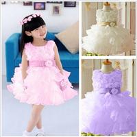 Retail !2014 new sleeveless Waist Chiffon Dress Girls Toddler 3D Flower Tutu Layered Princess Party Bow Kids Formal Dress