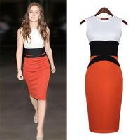 2014 New Summer Cotton Blend Sleeveless O-neck Tank Celebrity Plus Size Bodycon Patchwork Sexy Knee-length Women Dress XL