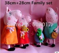 Hot Sale Anime Baby Toys Peppa Pig Toy 38CM Daddy Mummy+28CM George Peppa Pig Plush Family Stuffed Doll Set 4pcs/lot Free Ship