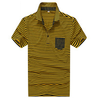 2014 summer mens polo shirt mercerized cotton fashion striped short shirt SCC1273 yellow color free shipping