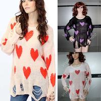 Wholesale!2014 Women New Love Peach Heart Hole O-Neck Pullovers Long Loose Wool Knitwear Full Sleeve Casual Jacket Sweater Tops