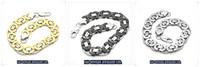 NEW Men's Biker Wide Silver Black Gold Tone Stainless Steel Bracelet Link Bangle ,  Free Shipping B#53