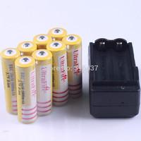 freeship 8pcs ultrafire battery 18650 5000mAh 3.7V Rechargeable 18650 Battery +1pcs travel wall charger UK AU EU US PLUG