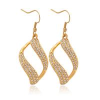 Women Vintage Figaro Scroll Clear Austrian SWA Rhinestone Drop Earrings 18K Real Gold Plated Jewelry Gift For Women MGC E732