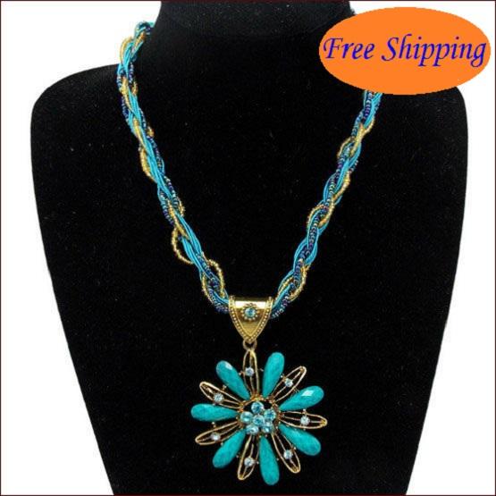 6 Colors Fine Jewel Bohemia Ethnic Opal Colored Rope Sunflower Pendant Necklace Fashion Jewlery Items Brand