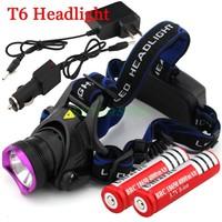 2014 New High Quality 2000 Lumens CREE XM-L XML T6 LED Headlamp Headlight Flashlight + 2*18650 battery + charger + Car Charger
