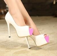 2014 Sale New Freeshipping Open Toe Medium(b,m) Pu High-heeled Shoes Princess Ultra High Women's Single Open Toe Shoe Sandals