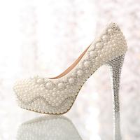 wedding shoes high heels platform shoes  pearl rhinestone bridal shoes women pumps shoes 2014