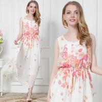 Romantic 2014 flower summer new arrival bohemia full dress Chiffon Long Floral Dress beach