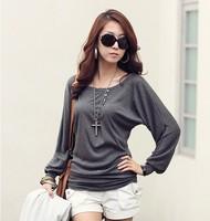 fashion 2014 summer women's long-sleeve T-shirt female plus size basic shirt batwing shirt girls style