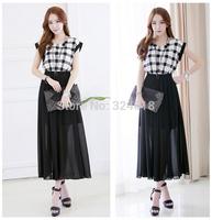 2014 new fashion women check print dress long summer dresses cotton+ chiffon patchwork dress black & white dress