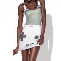 DR-21  New 2014 Spring Fashion Women's White Game Geometry Galaxy Digital Print Sexy Vest Tank Tops Dress Summer