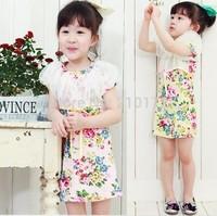 Free shipping 5pc/lot 2014 Summer Fashion Floral Print Fluffy Gauze Girl Flower Dress / Dresses
