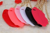 2014 New Arrival Fashion Hot PINK Sexy LIPS TPU hand bag case for iphone 5/5g/5s Big Lips case with pearl Metal Chain