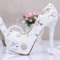 Crystal white wedding flower Aesthetic pearl wedding shoes bridal high heels platform women pumps