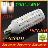 30W,5730 SMD,LED Lamps Bulb,E27 B22 E14,220V,230V,240V,Cold White/Warm white,108 LED,Corn Light Bulb,Ultra bright spot lights