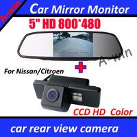 "CCD HD car rear view parking camera for NISSAN QASHQAI X-TRAIL Geniss Sunny Pathfinder Dualis Navara Juke 5""  Car Mirror Monitor"