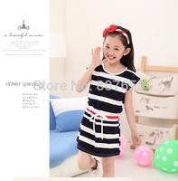 free shipping 2014 Girls summer short sleeves striped one-piece dress cotton fashion dress girl beach dress clothing