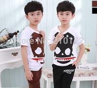 Hot Fashion 2014 summer boy clothing set skull children's sport leisure suits set Kids Baby T Shirt + pp Haroun Pants