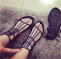 2014 women punk sandals Harajuku style girls flat heel sandals women shoes flats leather fashion casual flip flops free shipping