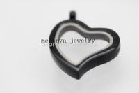 10 pcs black plating strong big magnet plain curved heart floating charm glass locket xmas gift