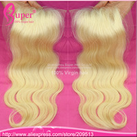 "Rosa hair products 613 blonde closure Brazilian virgin hair extension 100% human lace closure bleached knots 4""X4"""