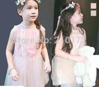 5pcs/lot baby girls summer flower dress children princess party dress veil dress