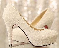 White lace pearl flower dress shoes red bottom high heel platform wedding shoes bridal shoes women pumps 2014