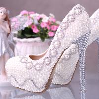 wedding shoes pearl rhinestone White high heels platform  bridal shoes women pumps 2014