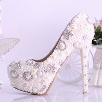 White women shoes crystal bridal shoes rhinestone wedding shoes platform shoes pearl high heels