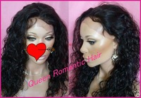 Popular Beauty Afro Kinky Curly  black women brazilian virgin human hair full lace wig& (glueless) Human hair Wigs Free shipping